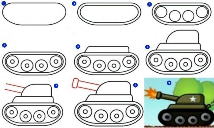 Рисунок танка фото