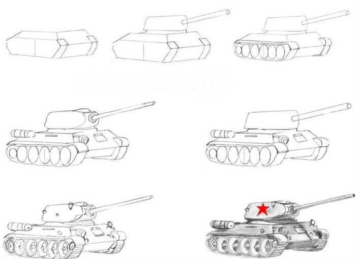 Как нарисовать танк фото