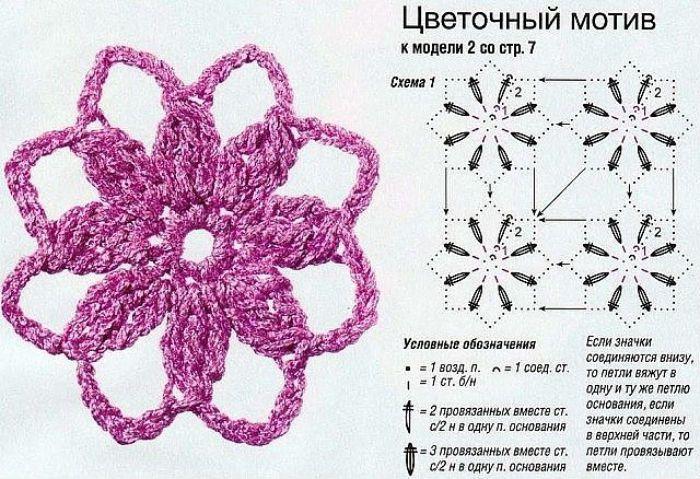 Ажурные цветы крючком схема фото
