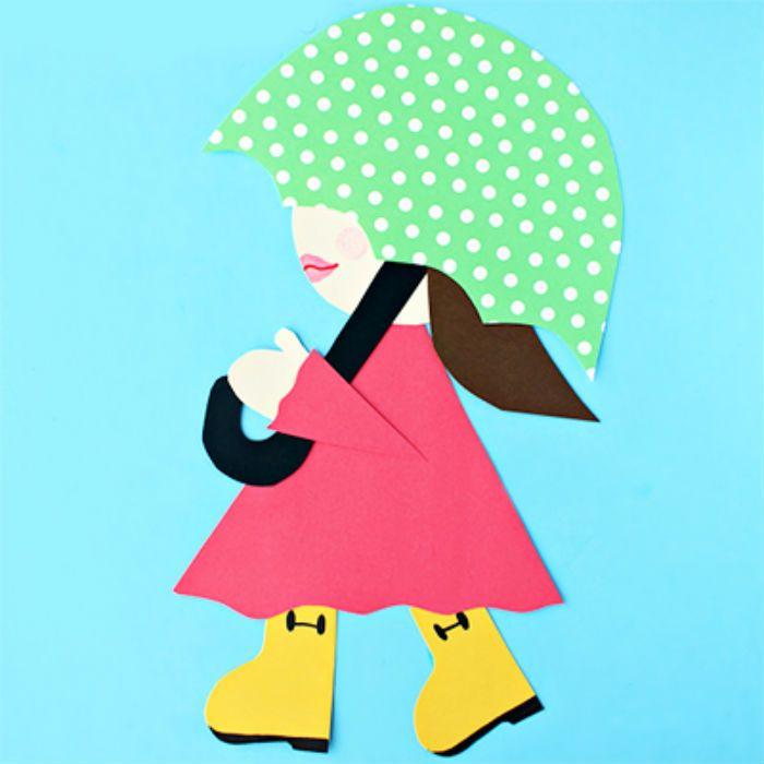 Аппликация девочка с зонтом в платье фото
