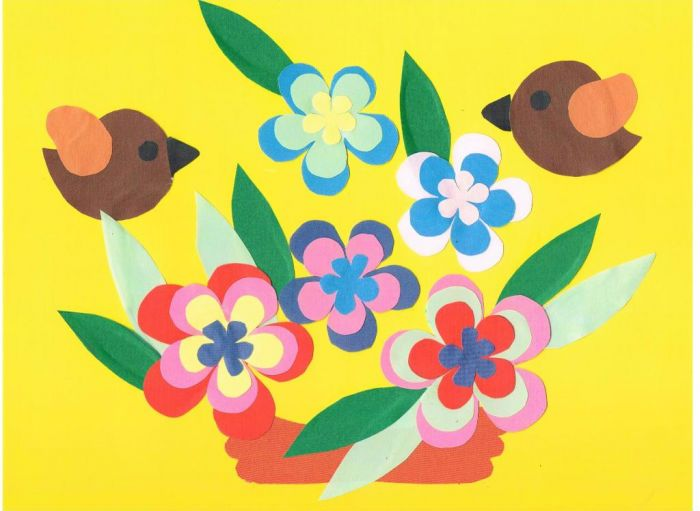 Декоративная аппликация с цветами фото