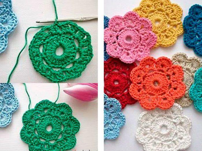 Цветы для украшения крючком фото