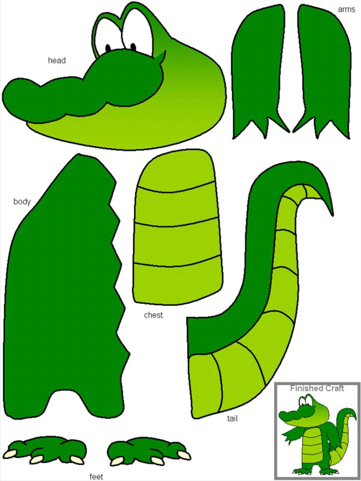 Аппликация крокодил шаблон фото