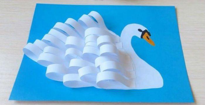Аппликация лебедь  фото