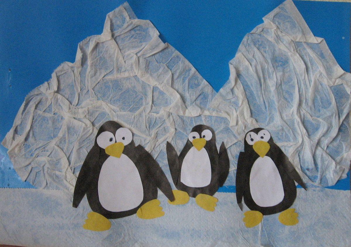 Аппликация пингвины и снег фото