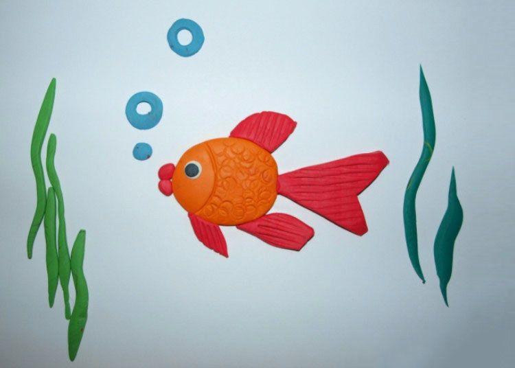 Аппликация рыбка пластилин фото