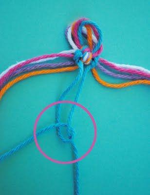 Связываем нитки в центре узелком фото
