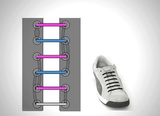 Прямая шнуровка с потайным узлом фото