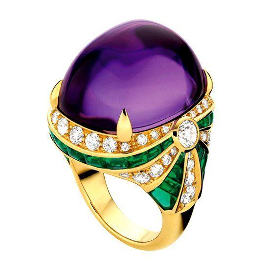 Кольцо с камнем аметист и бриллиантами фото
