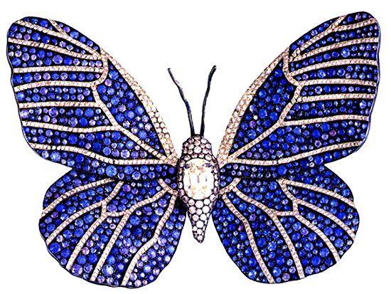 Бабочка из маленьких сапфиров фото