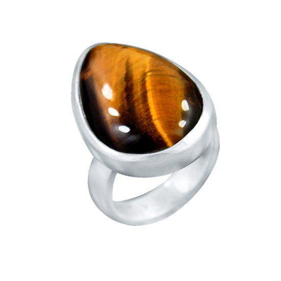 Кольцо с камнем тигровый глаз фото
