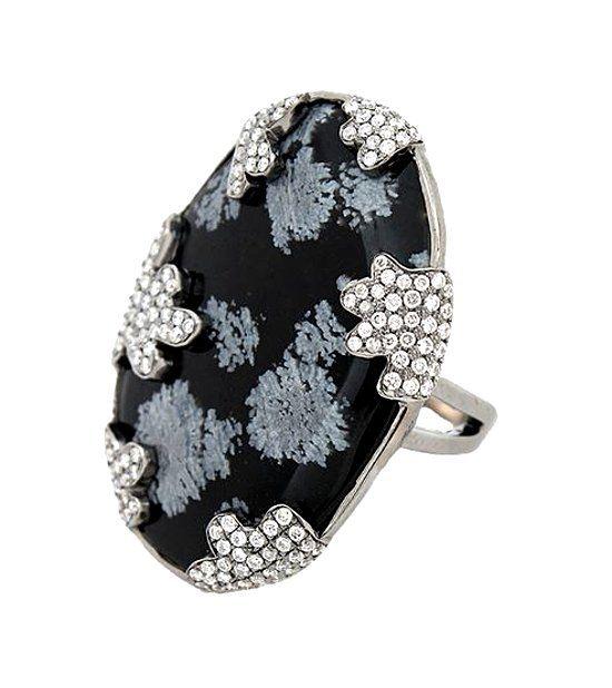 Кольцо с камнем обсидиан фото