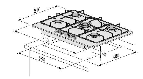 Размеры варочной панели Foster S.1000 GAS Satin Steel