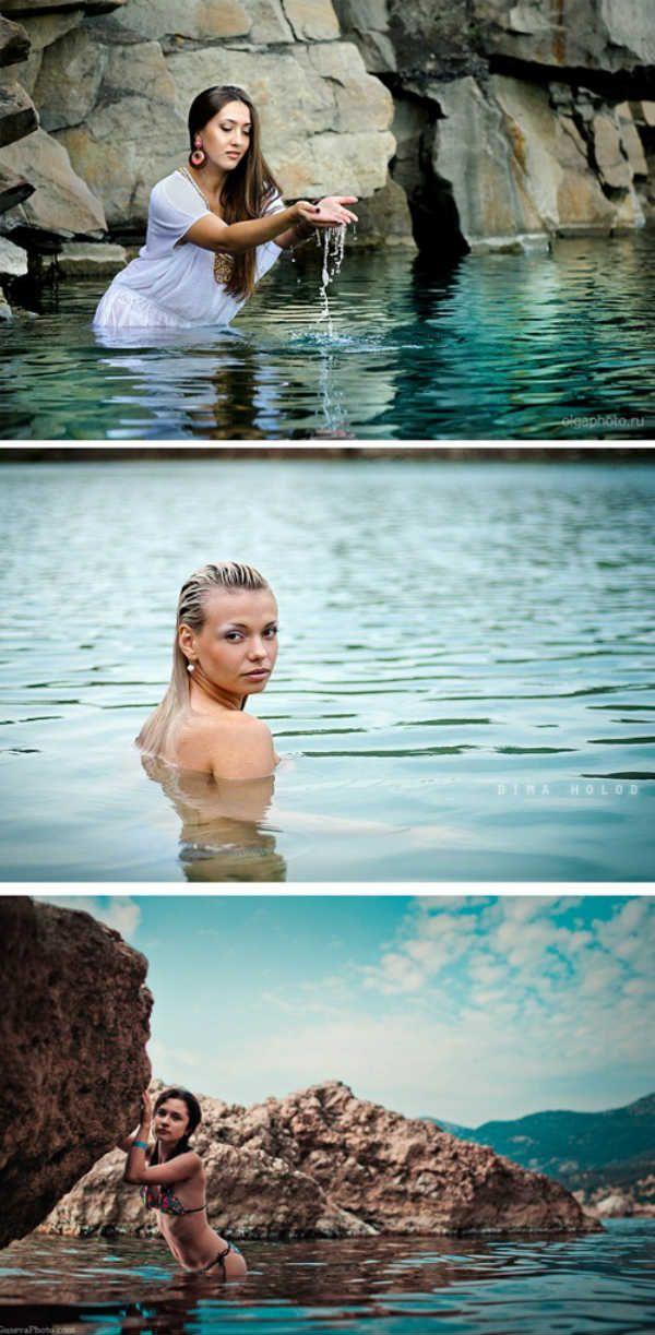Позирование в воде фото
