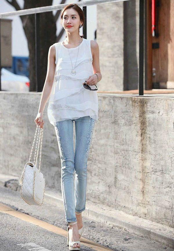 Женские узкие джинсы фото