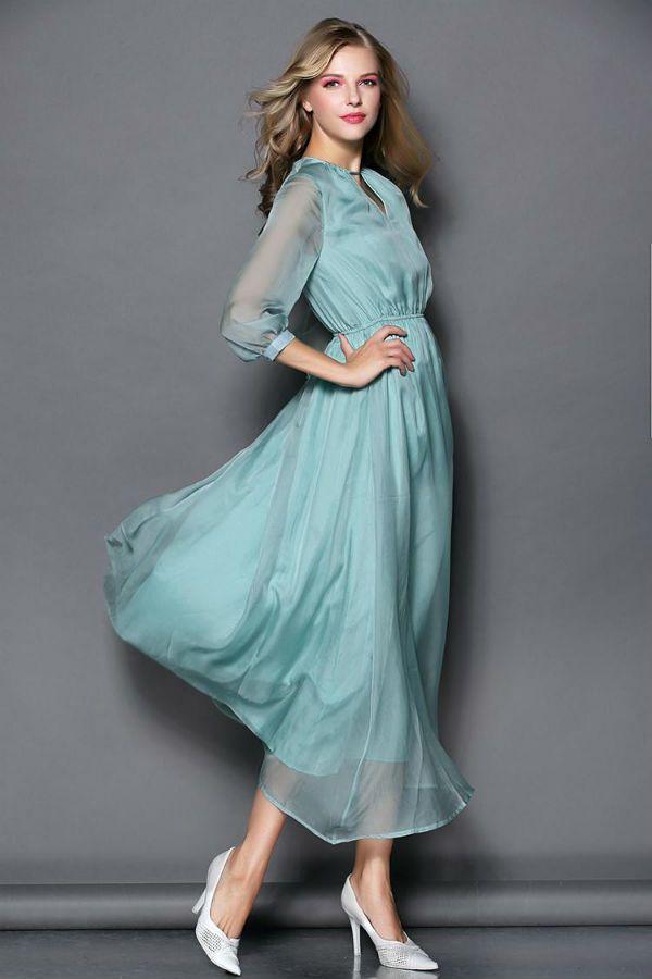 Платье с рукавом фонариком фото