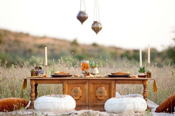 Оформление стола в стиле бохо фото
