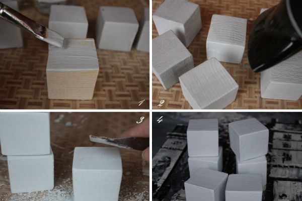 Окрашивание кубиков фото