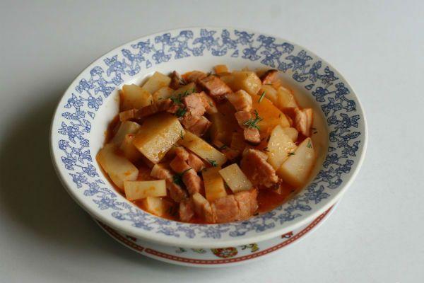 Картошка с копченой грудкой фото