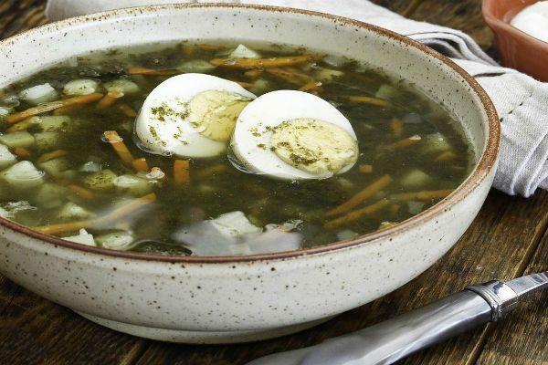 Суп щавелевый с зеленью и куриными желудками фото