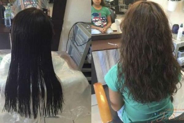 Карвинг черных длинных волос фото