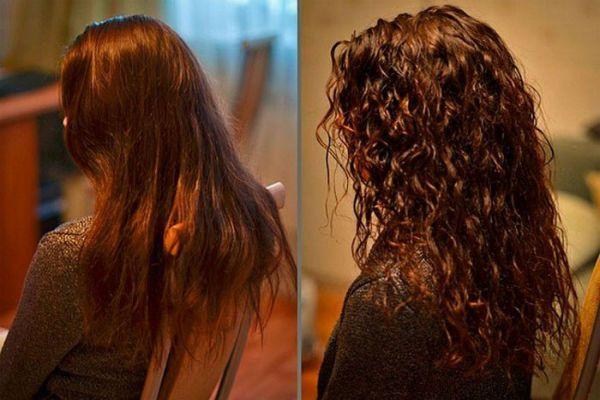 Карвинг длинных каштановых волос фото