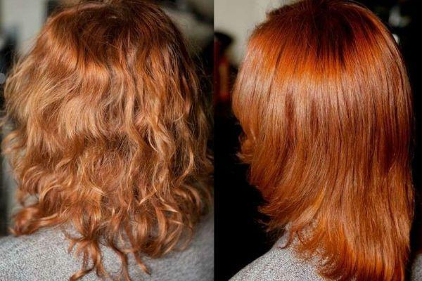 Тонирование волос  в ярко-рыжий цвет фото