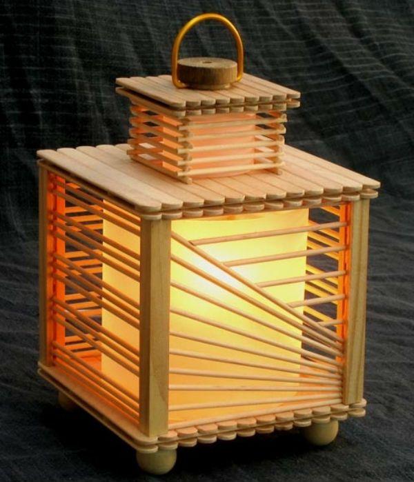 Светильник из палочек от мороженого 2 фото