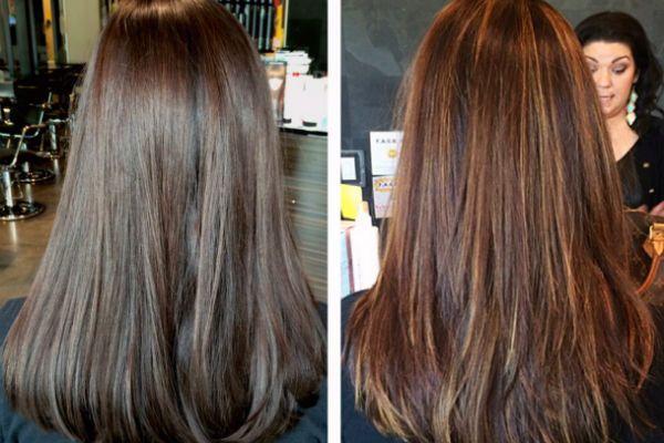 Тонирование темно-русых волос в каштановый цвет фото