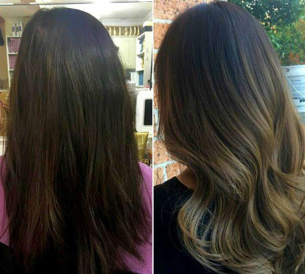 Мелирование с эффектом выгорания для темных волос фото