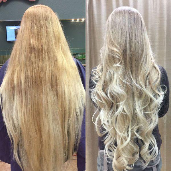 Балаяж мелирование на светлых длинных волосах фото