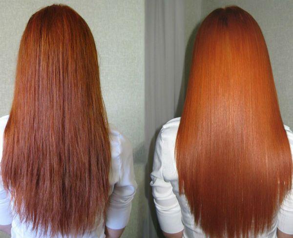 Насыщение рыжих волос фото