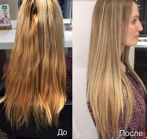 Кератиновое насыщение светлых волос фото