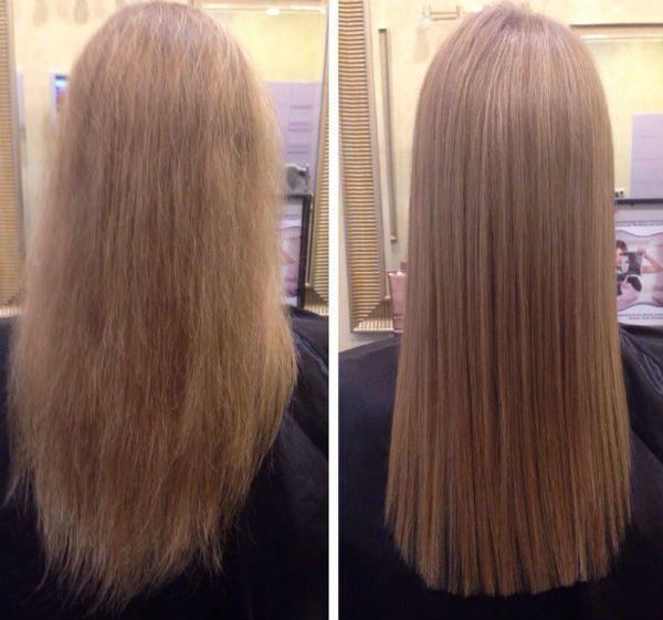 Ламинирование и выправление длинных волос фото