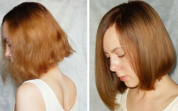 Ламинирование и выправление коротких волос фото
