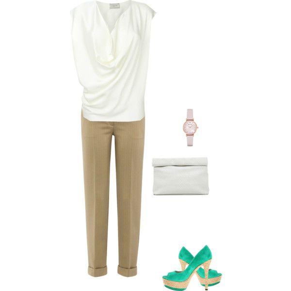 Бежевые брюки и белая блуза фото