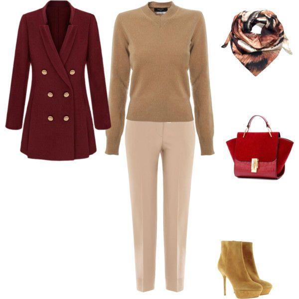 Бежевые брюки и красный пиджак фото