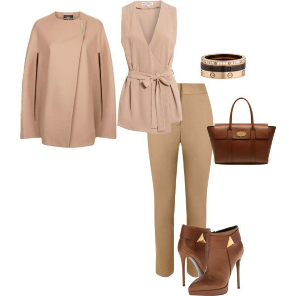 Бежевые брюки, блуза и пальто фото
