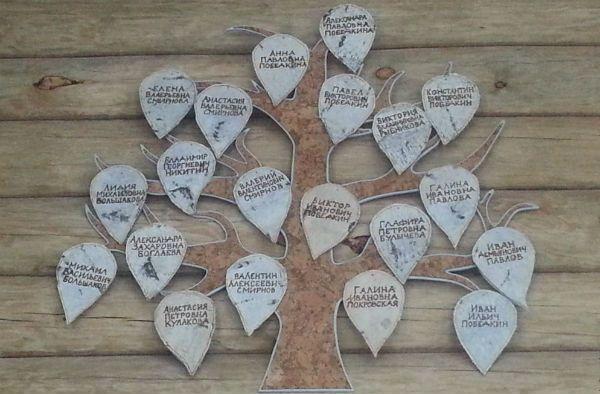 Генеалогическое дерево из картона фото