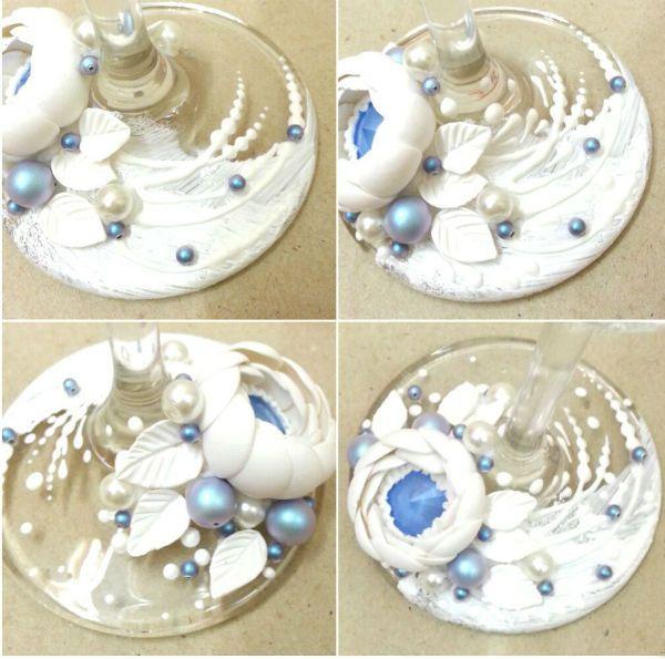 Декор свадебных бокалов полимерной глиной шаг 12 фото