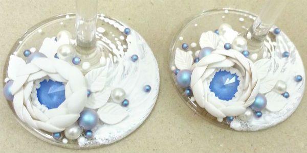 Декор свадебных бокалов полимерной глиной шаг 13 фото