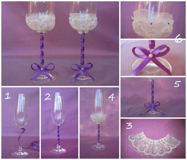 Украшение свадебных бокалов кружевом фото