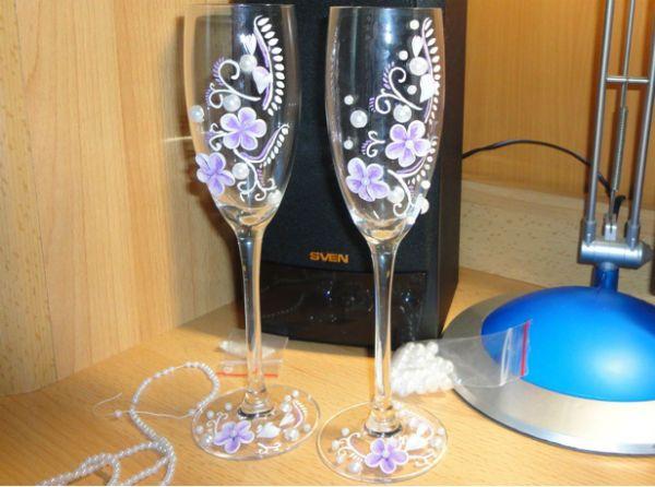 Украшение свадебных бокалов полимерной глиной шаг 8 фото