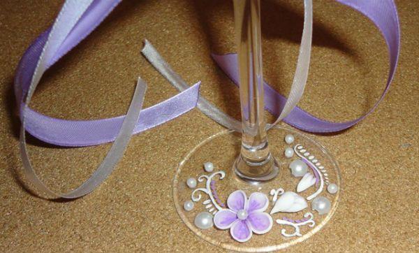 Украшение свадебных бокалов полимерной глиной шаг 9 фото