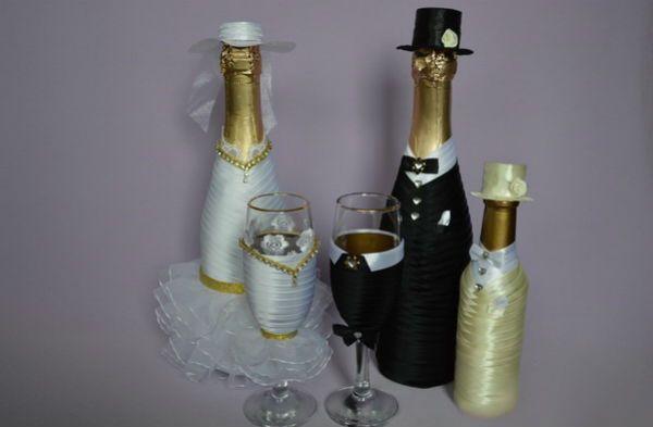 Декор свадебных бокалов тканью шаг 13 фото