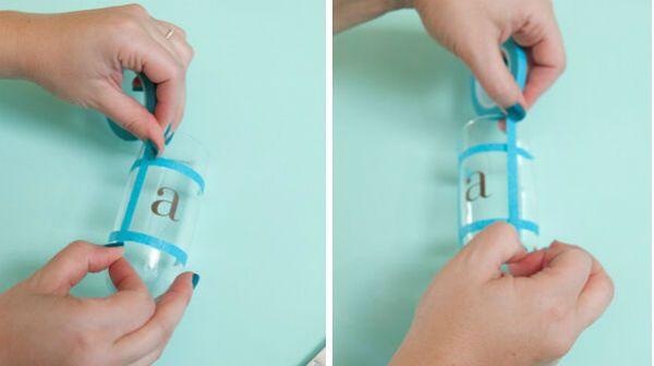 Декор бокалов тонированием с буквой шаг 3 фото
