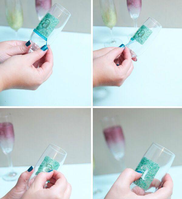 Декор бокалов тонированием с буквой шаг 6 фото