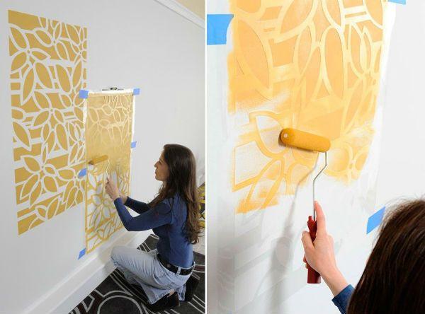 Трафареты для стен нанесение фото