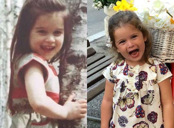 Ксения Бородина в детстве и ее младшая дочь Теона