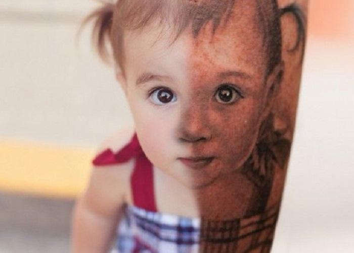 тату портрет ребенка фото
